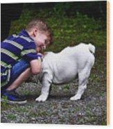 Kid And His Dog Wood Print