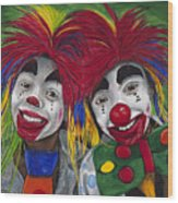 Kid Clowns Wood Print by Patty Vicknair