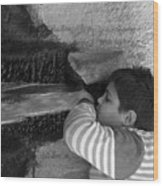 Kid Drinking From The Fountain Wood Print