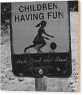 Kids At Play Sign Wood Print