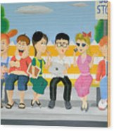 Kids At The Bus Stop Wood Print