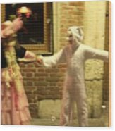 Kids Dancing During Carnevale In Venice Wood Print