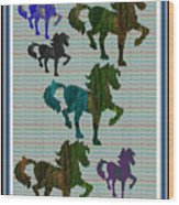 Kids Fun Gallery Horse Prancing Art Made Of Jungle Green Wild Colors Wood Print