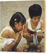 Kids In China 1986 Wood Print