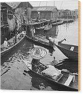 Waterways And Canoes Wood Print