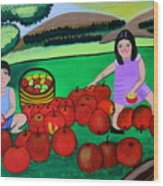 Kids Playing And Picking Apples Wood Print