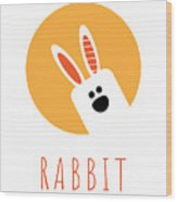 Kids Rabbit Poster Wood Print