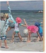 Kid's Yoga Class On Wingaersheek Beach Wood Print