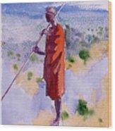 Kikuyu In A Red Cloak Wood Print