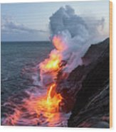 Kilauea Volcano Lava Flow Sea Entry 3- The Big Island Hawaii Wood Print
