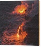 Kilauea Volcano Lava Flow Sea Entry - The Big Island Hawaii Wood Print