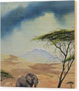 Kilimanjaro Bull Wood Print