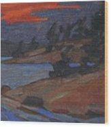 Killbear Flagged Pines At Sunset Wood Print