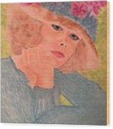 Kim Alexis In Flowery Hat Wood Print