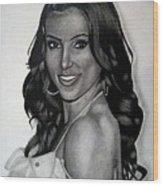 Kim Kardashian Drawing Wood Print