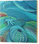 Kina Sea Anemone With  Stingray By Reina Cottier Wood Print