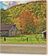 Kindred Barns Painted Wood Print by Steve Harrington