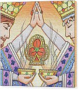 King And Queen Of Clubs Wood Print