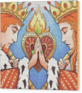 King And Queen Of Hearts Wood Print