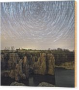 King And Queen Star Trails Wood Print