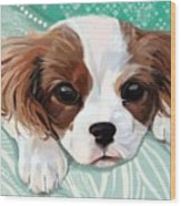 Spaniel Puppy Resting Wood Print