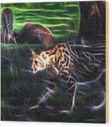 King Cheetah And 3 Cubs Wood Print