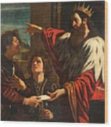 King David Giving Uriah A Letter Wood Print