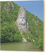 King Decebal, Rock Sculpture Wood Print