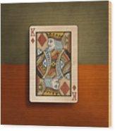 King Of Diamonds In Wood Wood Print