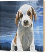 King Of The World-beagle Puppy Wood Print