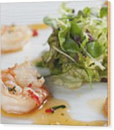 King Prawns Ginger Chilli And Coriander Starter Presented On A White Background Wood Print