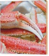 King Snow Crab Legs Ready To Eat Closeup Wood Print