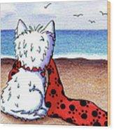Kiniart Beach Blanket Westie Wood Print