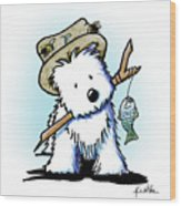 Kiniart Westie Fisherman Wood Print