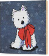 Kiniart Westie In Red Bow Wood Print