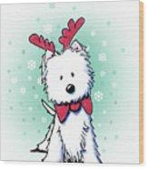 Kiniart Westie Reindeer Wood Print