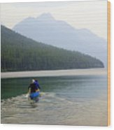 Kintla Lake Paddlers Wood Print