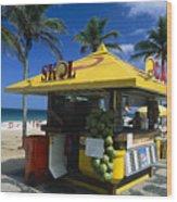 Kiosk On Ipanema Beach Wood Print by George Oze