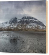 kirkjufellsfoss From Black Beach Wood Print