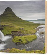 Kirkjufellsfoss On Snaefellsnes Peninsula Iceland Wood Print