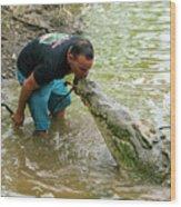 Kissing A Crocodile Wood Print