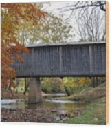 Kissing Bridge At Fall Wood Print