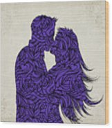 Kissing Couple Silhouette Ultraviolet Wood Print