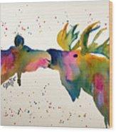 Kissing Moose Wood Print