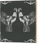 Kissing Roosters 1 Wood Print