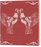 Kissing Roosters 4 Wood Print