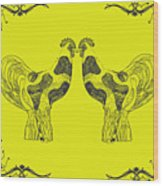 Kissing Roosters 5 Wood Print
