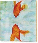 Kissy Fish Wood Print