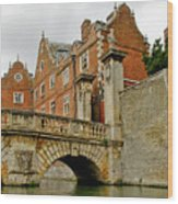 Kitchen Or Wren Bridge And St. Johns College From The Backs. Cambridge. Wood Print