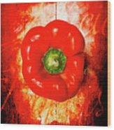 Kitchen Red Pepper Art Wood Print